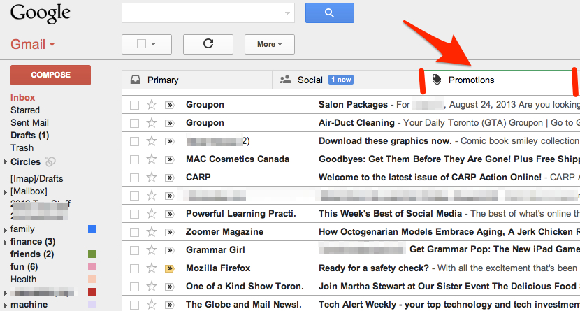 The New gMail Inbox's Other Tabs