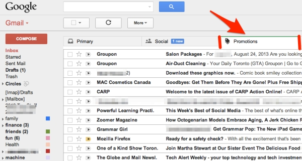 gMail Inbox's PromotionsTab