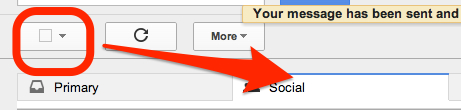 Select all above the Primary Inbox in gmail