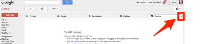 gmail's tabs and where to click to start changing them
